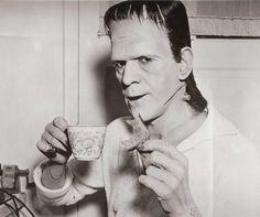 Boris Karloff en el set de Hijo de Frankenstein.
