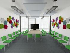 Projekt sali konferencyjnej z panelami Hexa - Fluffo by LaDeco
