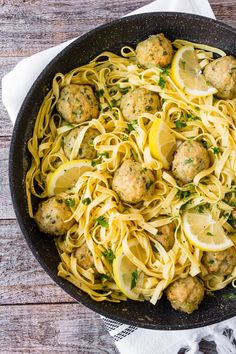 Baked Chicken Francese Meatballs - the perfect twist to an Italian favorite! Best Chicken Recipes, Pasta Recipes, Dinner Recipes, Cooking Recipes, Dinner Ideas, Turkey Recipes, Oven Baked Meatballs, Tasty Meatballs, Chicken Meatballs