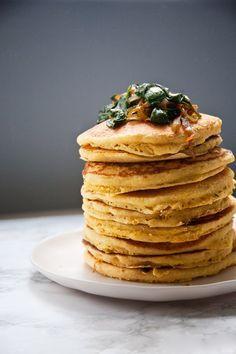Savory Cornmeal Pancakes by northdixiekitchen #Pancakes #Cornmeal