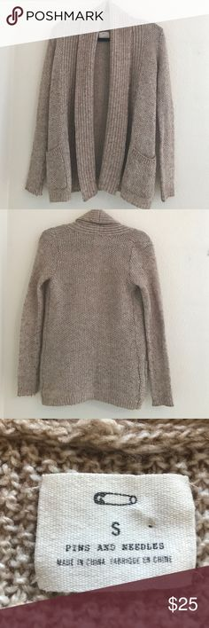 UO Pins and Needles open cardigan. UO Pins and Needles open cardigan with pockets. Flecked brown/beige acrylic wool blend. Hand wash. Very good used condition Pins & Needles Sweaters Cardigans