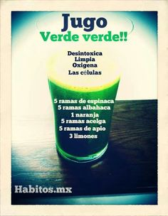 Jugo verde Healthy Juices, Healthy Smoothies, Healthy Drinks, Get Healthy, Healthy Tips, Healthy Recipes, Juice Smoothie, Smoothie Drinks, Detox Drinks