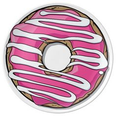 Cartoon Pink Donut with Icing Porcelain Plates