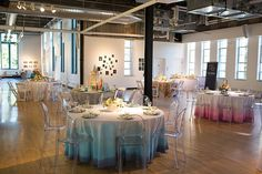 dip-dyed tablecloths, photo by Jackie Cooper Photo http://ruffledblog.com/notwedding-denver #weddingreception #weddingideas