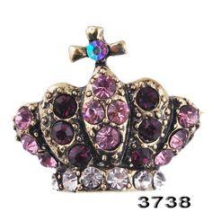 Fashion crown Brooch Pin rhinestone Alloy retro bronze plated21*24mm31909 | eBay