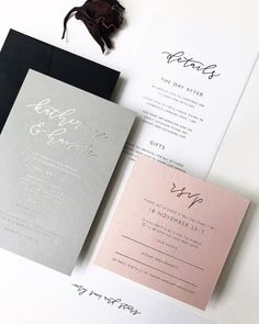 Modern chic grey white and blush wedding invitations Grey Wedding Invitations, Gold Invitations, Wedding Stationary, Wedding Favors, Invitation Suite, Blush Wedding Stationery, Wedding Venues, Wedding Invitation Inspiration, Wedding Paper