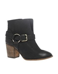 ASOS ANGELES Mid Heel Leather Buckle Ankle Boot - StyleSays