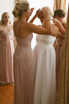 "Nicole Miller pink bridesmaid ""getting ready"" by hayleylord.com"