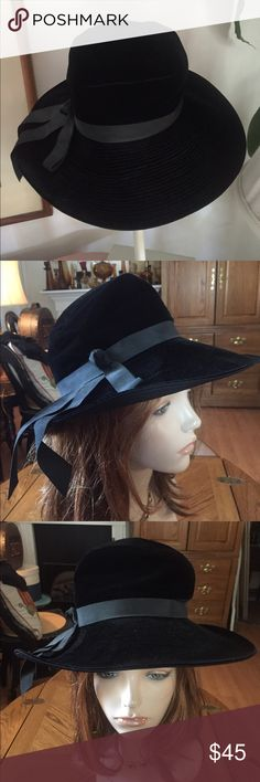 """Vintage Black Velvet Hat Crushable Black Velvet Hat w/a black grosgrain ribbon surrounding the brim finished in a knot tie w/3 dangling ribbon ends. Inside lined in black grosgrain ribbon. Tagged Medium: circum. 21-1/2; crown 5-1/2""""; front brim  3-1/2""""/back brim 1-1/2"""". In excellent preowned condition. Smoke-free home. The measurements provided should be compared with your head circumference measurement before ordering. The mannequin is a display model only and not reflective of how a hat…"""