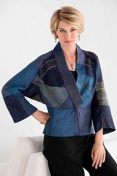 Dolman Sleeve Patched Kantha Jacket by Mieko Mintz (Cotton Jacket) leuk model Kimono Jacket, Vest Jacket, Sari Fabric, Japanese Embroidery, Cotton Jacket, Quilted Jacket, Mode Inspiration, Mode Style, Sewing Clothes