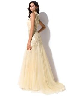 Trumpet/Mermaid Scoop Neck Sweep Train Tulle Charmeuse Evening Dress With Ruffle Lace Beading Sequins (017052645) - JJsHouse