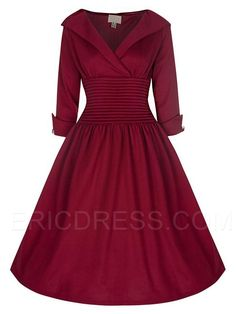 Ericdress Rockabilly Style Three-Quarter Sleeves Casual Dress Casual Dresses