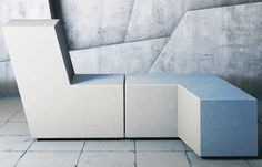 Modular reconstructed stone Bench UP by Metalco design PIO