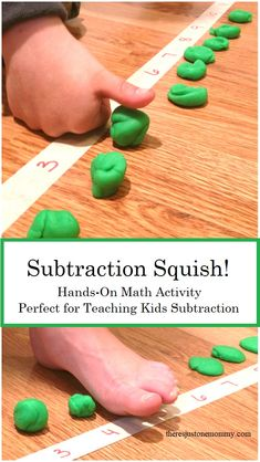 Hands-On Math Activity Subtraction Squish is a fun, hands-on math activity that is perfect for teaching subtraction; this activity is perfect for kinesthetic learners p Subtraction Squish Hands-On Math Activity Subtractio Subtraction Kindergarten, Subtraction Activities, Kindergarten Math Activities, Homeschool Math, Teaching Math, Numeracy, Online Homeschooling, Montessori Preschool, Montessori Elementary