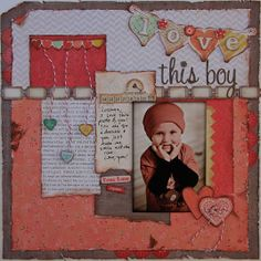 Love this boy by Lynn Kopas for Right at Home Scrapbooking.  PageMaps Sketch, BasicGrey Kissing Booth papers.