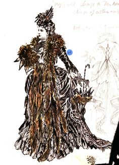 A sketch of one of the ornate costumes worn by Carlotta, designed by the talent Maria Björnson. Metallic brocade bodice and skirt with ruffles, braid and jet decor. Image courtesy of The Phantom US Tour