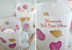 Leaf and Flower Petal Wax Paper Votive Candle Holders