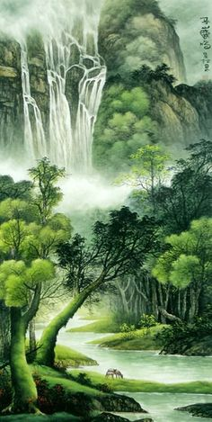 Chinese Waterfall x x Painting. Buy it online from InkDance Chinese Painting Gallery, based in China, and save Beautiful Nature Pictures, Beautiful Nature Wallpaper, Beautiful Artwork, Waterfall Drawing, Waterfall Paintings, Beautiful Landscape Photography, Beautiful Landscapes, Donna Dewberry Painting, Forest Waterfall
