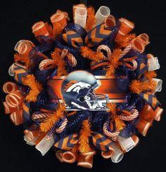 Denver Bronco's, Bronco Sports Wreath, Poly Mesh Sports Wreath, Sports Wreath, Item on Etsy, $69.00