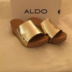 Aldo Gold Wedges Brand new in box!!! Never worn! These are beauties! Price is firm. ALDO Shoes Wedges