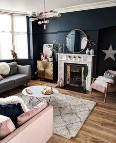 How To Decorate A Grey and Blush Pink Living Room Learn how to combine grey and pink for an amazing living room your guests will fall in love with! Get free tips and ideas for great home decor! - How To Decorate A Grey and Blush Pink Living Room Blush Pink Living Room, Navy Living Rooms, Living Room Lounge, Living Room Grey, Home Living Room, Apartment Living, Interior Design Living Room, Living Room Furniture, Living Room Designs
