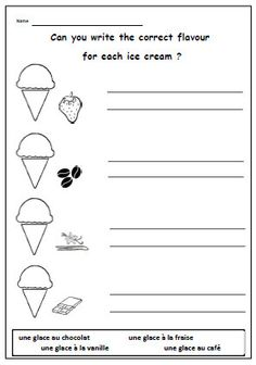FRENCH WORKSHEET about Ice Cream FlavoursPrimary by YippeeLearning