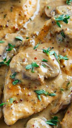 Chicken and Mushroom Skillet in a Creamy Asiago and Mustard Sauce ~ Quick and easy... it's sure to impress everyone that tries it!