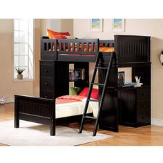 Willoughby+Loft+Bed+and+Twin+Bed+with+Desk+&+Storage,+Black.. For My Boys!!