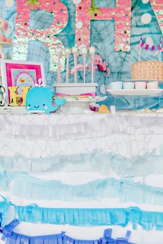 Dessert table at a Bubble Guppies Under The Sea Party with Such Cute Ideas via Kara's Party Ideas | KarasPartyIdeas.com #Ocean #Beach #Party #Ideas #Supplies #bubbleguppies #desserttable