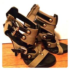 Colin Stuart Army Green Sandals Gold and Black Buckles and Accents Colin Stuart Shoes Heels