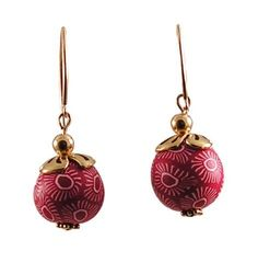 Red and White Polymer Clay Earrings by Randall V Designs