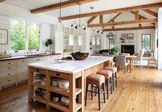 Gorgeous Farmhouse Kitchen Island Decor Design Ideas - Home Decor Farmhouse Kitchen Island, Kitchen Island Decor, Kitchen Cabinets Decor, Cabinet Decor, Home Decor Kitchen, Kitchen Styling, Country Kitchen, Kitchen Ideas, Open Kitchen