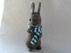 felt bunny in ascarf so cute,ooak easter gift