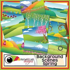 Background Scenes Spring contains 10 colored and 10 black and white background scenes for your products. Simply place your text and clip art over the background scene. Create product covers, posters, dioramas, worksheets, activities and other teaching resources.