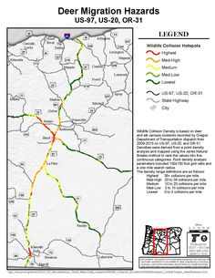Deer migration hazards, US-97, US-20, OR-31, by the Oregon Department of Transportation, Geographic Information Services