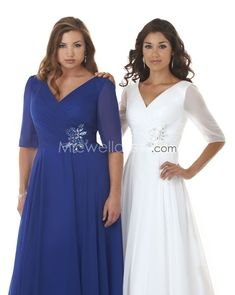 David's mother of the bride Plus Sizes | Plus Size V-neck Half Sleeves Chiffon Bonny 7316 Vintage Mother of the ...