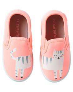 Toddler Girl Carter's Kitty Slip-On Shoes | Carters.com