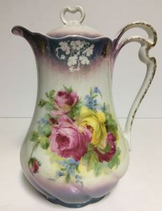 Antique Made in Germany Chocolate Pot or Teapot Luster, Pink & Yellow Roses