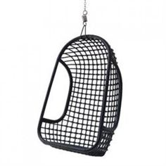Black Rattan Hanging Chair - Statement Chairs - Furniture