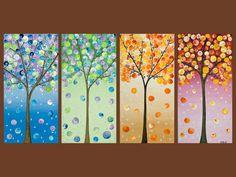 Jackson pollock canvas Abstract painting teal Aqua Green wall art painting on canvas office decor gi - Zeugnis Grundschule Abstract Landscape, Landscape Paintings, Abstract Trees, Tree Paintings, Four Seasons Art, Wow Art, Button Art, Tree Art, Art Lessons