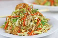 Lightly dressed Chinese Chicken Salad with grilled chicken, crunchy wontons, toasted almond and sprinkled with sesame seeds over a crunchy napa cabbage and carrot salad. Done in 15 minutes! Sometimes you want a light salad instead of a deliciously indulgent Asian meal (Kung Pao Chicken Spaghetti, Thai Chicken Linguine, Orange Peel Chicken, Spicy Cashew Chicken, …