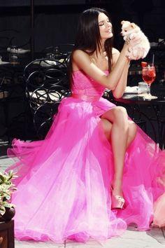 Stunning neon pink prom dress!