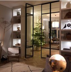 Just put on some lights ✨ Living Room Divider, Home Living Room, Living Room Designs, Living Room Sliding Doors, Traditional Home Offices, Home Library Design, Design Desk, Glass Partition Wall, Pooja Room Door Design