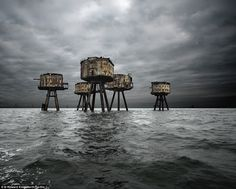 Deserted: Maunsell sea forts in the UK are seen here...