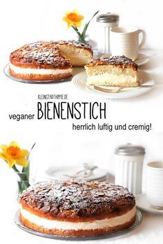 Veganer Bienenstich – Backrezepte von Kleinstadthippie BEECH: bee sting is clearly one of my favorite cakes. He is wonderfully creamy and tastes in no way inferior to his Omni-Brunder! Desserts Végétaliens, Desserts Sains, Health Desserts, Dessert Simple, Bon Dessert, Baking Recipes, Cake Recipes, Vegan Recipes, Snack Recipes