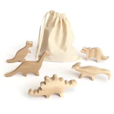 5 unpainted wooden toy dinosaurs - a stegosaurus, a triceratops, a parasaurolophus, a T-Rex and a diplodocus Your child will have hours of fun playing with the figurines. The pieces are made of solid pine wood. This dinosaur set has been hand cut and varnished with an organic varnish (certified toy safe). All the pieces have been sanded and the edges rounded to make it soft for childrens little hands. All the wood comes from sustainably managed forests (FSC certified). Wooden toys are…