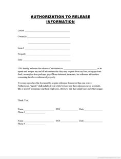 Free Printable Authorization For Release Of Information Legal ...