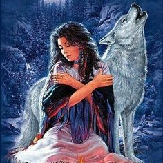 Indian Maiden And Wolf