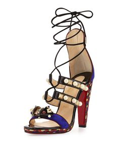 S0FWM Christian Louboutin Tudor Lace-Up Red Sole Sandal, Purple Pop