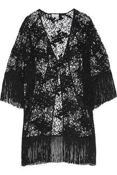 Simone fringed cotton-lace kimono #covetme #miguelina